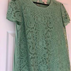 Green lace loft blouse